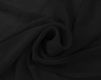 Black Stretch Chiffon Fabric by Yard - Style 458