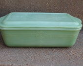Rare Original Fire King McKee Jadeite Philbe Pattern Covered Refrigerator Dish, Meatloaf Pan Jade Green