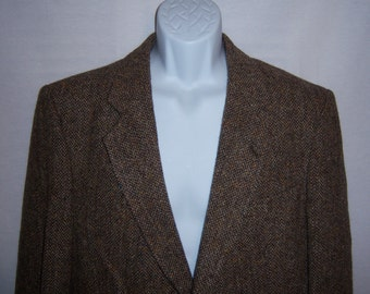 Vintage Harris Tweed St. Michael Brown Classic Woven Wool Sportcoat Jacket 42 Regular Medium Country Tweeds Coat