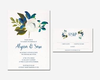 Floral wedding invite, Invitation Suite, Blue Flowers, Bridal Shower, Navy