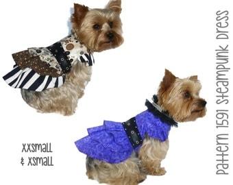 Steampunk Dog Dress Pattern 1591  * XXSmall & XSmall * Designer Dog Clothes Sewing Pattern * Steampunk Dog Harness Dress * Dog Apparel