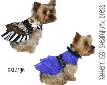 Steampunk Dog Dress Pattern 1591  * XXLarge * Designer Dog Clothes Sewing Pattern * Steampunk Dog Harness Dress * Dog Apparel