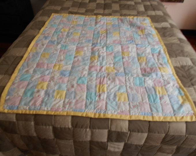 Flower Patchwork Baby Quilt, Baby Shower ,Crib Bedding or Baby Gift