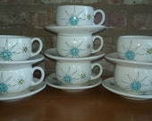 Franciscan North Star Cup and Saucer set of 7