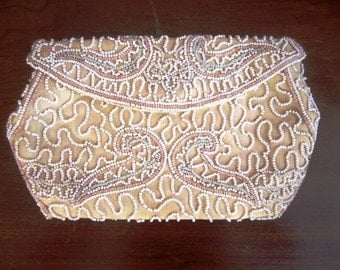 Vintage  Petite Pale Tan Satin Beaded Evening Clutch Purse, Walborg, ca 1940s