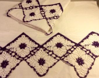 Vintage Pillowcases with Purple Crochet