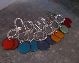 Colorful Enameled Sterling Silver Earrings, Enamel Earrings, Enamel Enameled Jewelry, Toniraecreations