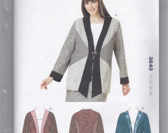 3640 Kwik Sew Women's Jacket Sewing Pattern Sizes 1X-2X-3X-4X
