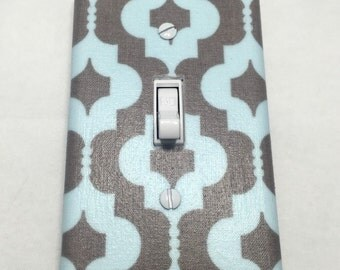 Blue and Grey Quatrefoil Light Switch Plate Cover / Outlet Cover / Bedroom / Home Decor / Baby Shower Gift / Nursery Decor / Kid's Room