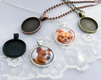 5 20mm Round Kits- 5-20mm Circle Pendant Bezel Blanks - 5-Ball chain or Rolo necklaces - 5-Round Glass Cabochons