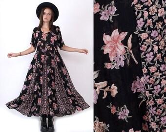 90's Black Floral Print Grunge Revival Mixed Print Rayon Vintage Festival Maxi Dress S/M
