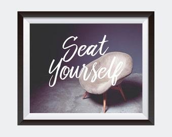 PRINT | Seat Yourself | Bathroom Art | Horizontal Wall Art