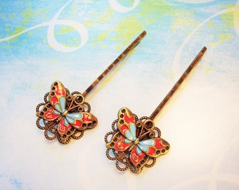 2 Butterfly Bobby Pins