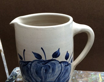 Pottery Pitcher with Blue Apples