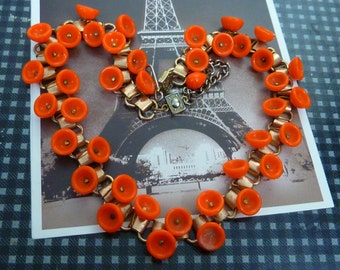 ORANGE vintage brass and glass antique  Art Deco choker necklace