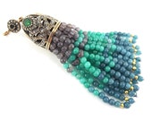 OOAK Large Long Turquoise Light Denim Blue Gray Jade Stone Beaded Tassel with Crystal Accents - Antique Bronze - 1PC