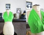 Vintage 1970s does 30s Biba Style Green Polkadot Halter Tie Top- Adjustable S/M/L