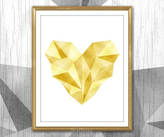 Geometric heart print Gold foil heart art Heart printable Printable decor printable wall art Gold foil love Printable Valentine day gift