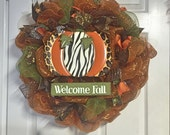 Welcome Fall animal print deco mesh wreath