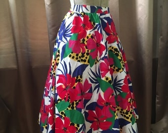 1980s Tropical Jungle Vibrant Lillies Lily Floral Full Circle Vintage Dress Skirt