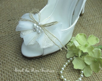 Rustic Ivory Organza & Burlap Wedding Shoe Clips,Bride-Bridesmaid Shoe Clips,Woodland Wedding Accessories