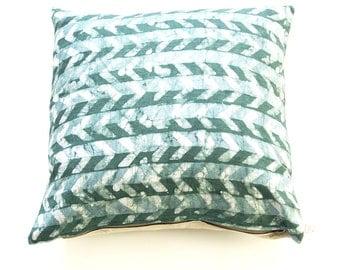 Teal Green Linen Pillow Cover- Chevron- Batik Blockprinted- 20x20 Throw Pillow