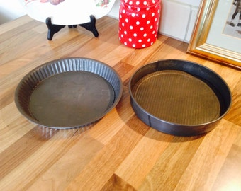 Pair of Old Pie Plates / Tins 8""