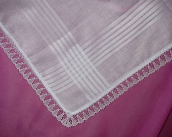 Lace-edged Handkerchief with 1 line of Embroidery