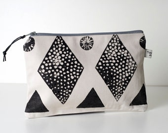 Screen Printed Zipper Pouch, Large Toiletry bag, Cosmetic bag.