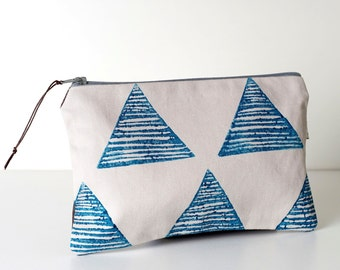 Block printed zipper Pouch, Travel organiser, Cosmetic bag, pouch, Turquoise