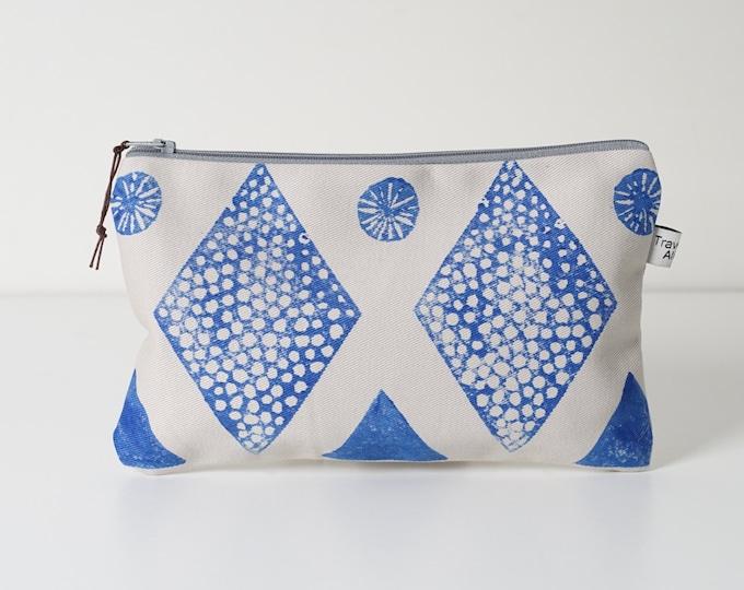 Medium Pouch  - Block printed Blue