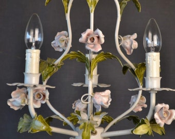 Fabulous tole Flower Chandelier with porcelain roses.