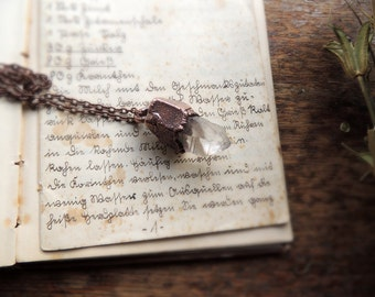Raw quartz necklace, natural stone, gemstone necklace, raw jewelry, quartz necklace,  bohemian necklace, crystal necklace, boho, MARIAELA