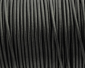 2MM Round Leather Cord - Black - 5M/5.46YD - High Quality European Leather Cord