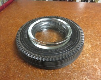 VIntage General Tire Rubber & Glass Ashtray