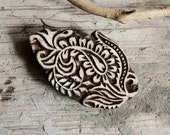 Hand Carved Indian Block Printing Stamp Wooden Block Paisley Leaf for fabric and paper printing Sheesham Wood