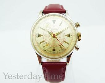 Lord Nelson Sport Chronograph Men's Watch 1950's Swiss 1 Jewel Manual Movement