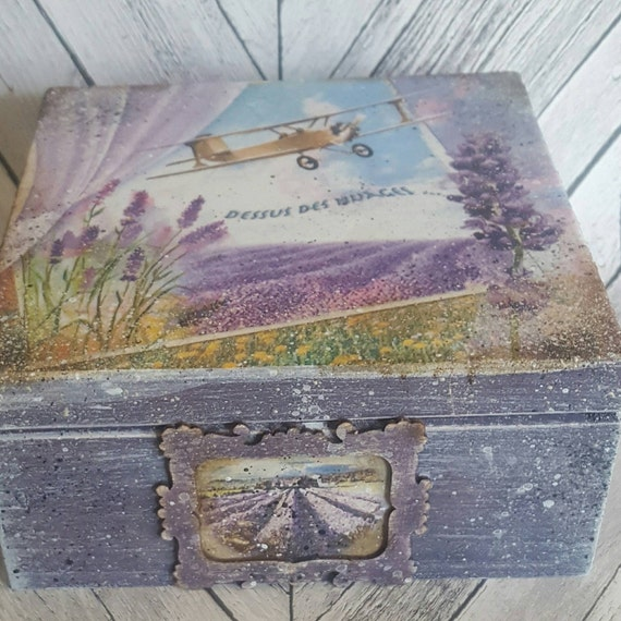 Lavender,  lavendula Tea Box wooden tea caddy, vintage kitchen decor, wooden storage rustic, storage box, compartments, can be customized