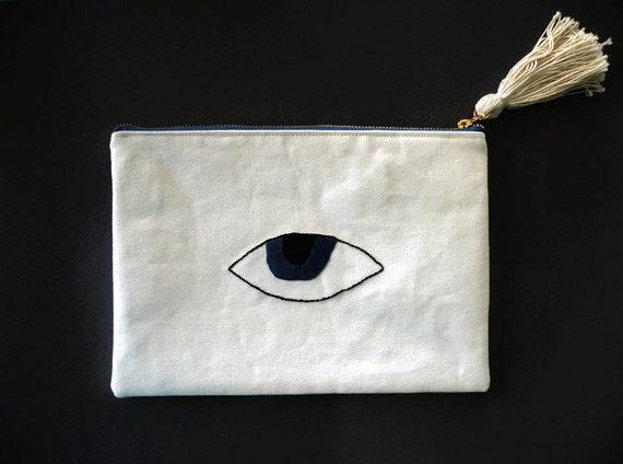 Evil Eye Clutch Bag White Canvas Clutch Bag Summer by Homesite