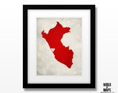 Peru Map Art Print - Home Town Love - Personalized Art Print Available in Multiple Size and Color Options