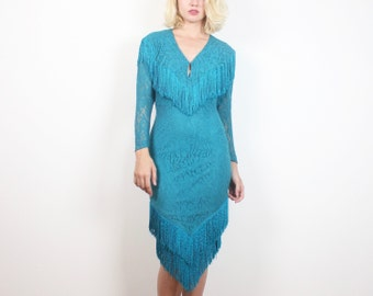 Vintage 1980s Dress Teal Stretch Lace Bodycon Midi Dress FRINGE Trim Western 80s Dress Bandage Dress Mod Long Sleeve New Wave XS S Small M