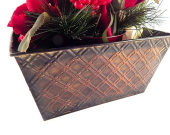 Metal Planter Box Vintage Floral Craft Supply Brown Black Embossed  Multi-Purpose Home Decor Basket