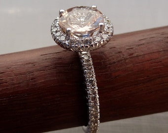 Natural Light Pink Morganite with Diamond Pave Halo Engagement Ring 18k White Gold