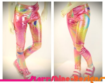 BJD MSD 1/4 Doll Clothing - Shimmer Rainbow Tie Dye Print Leggings