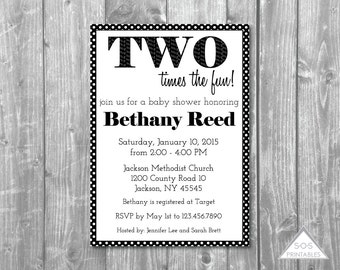 Two times the fun Twin Baby Shower Invitation, Twin Shower, 1+1=2, Gender Neutral, Baby Shower Invite, Printable Shower Invitation