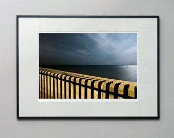 Double Security - a moonlit, long exposure of sea defences near Brighton, England