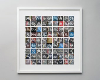 Bikes - a photographic montage of bicycle lane markers, a perfect gift for cycling fans
