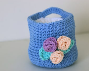 Cornflower Blue Crochet Basket with Makeup Remover Pads Wash Cloths