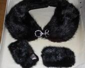 Vintage Fur Collar & Cuffs with Rhinestone Clasp