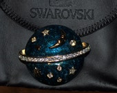 Swarovski Pin Brooch Moon Stars Planet with Pouch